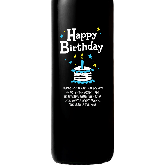 Personalized Etched Red Wine Bottle Gifts - Birthday Cake Blue