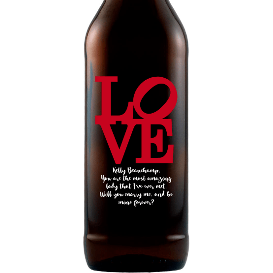 Personalized Etched Beer Bottle Gift - Love Square