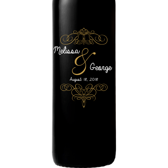 Personalized Red Wine Bottle Gift- Fancy Couple
