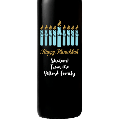 Hanukkah Menorah custom wine bottle by Etching Expressions