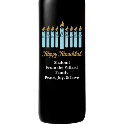 Hanukkah Menorah personalized wine bottle by Etching Expressions