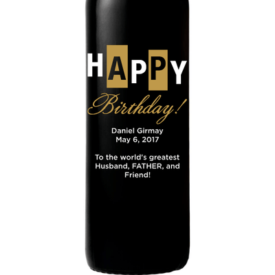 Happy Birthday bold retro design custom etched wine bottle birthday gift by Etching Expressions