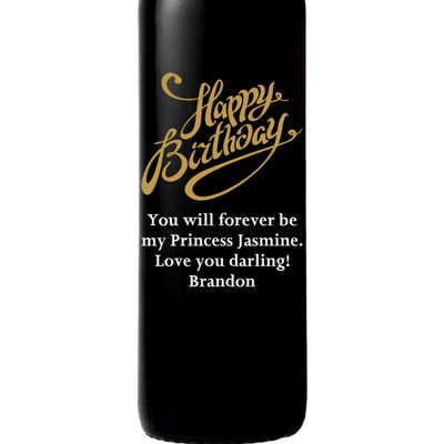 Personalized Etched Red Wine Bottle Gifts - Happy Birthday Fancy Y