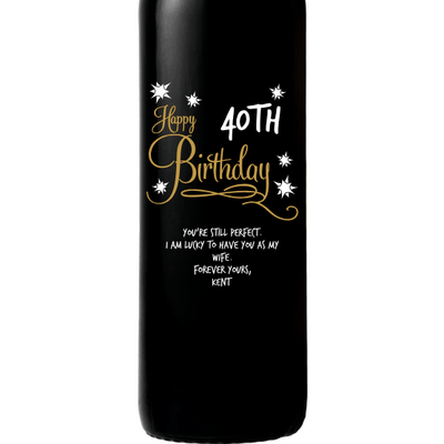 Personalized Etched Red Wine Bottle Gifts - Birthday Stars