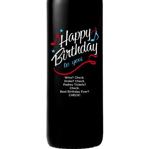 Happy Birthday to You with musical notes custom etched wine birthday gift by Etching Expressions