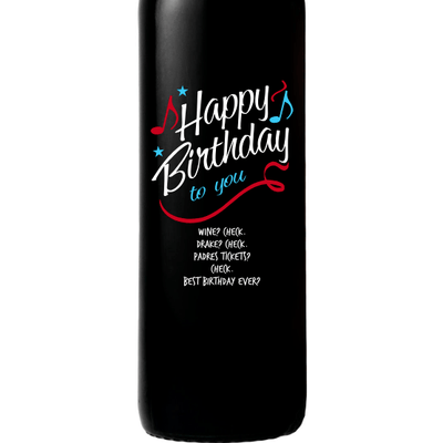 Personalized Etched Red Wine Bottle Gifts - Happy Birthday to You