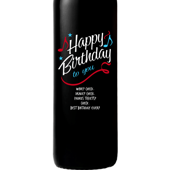 Personalized Red Wine Bottle Gifts - Happy Birthday to You