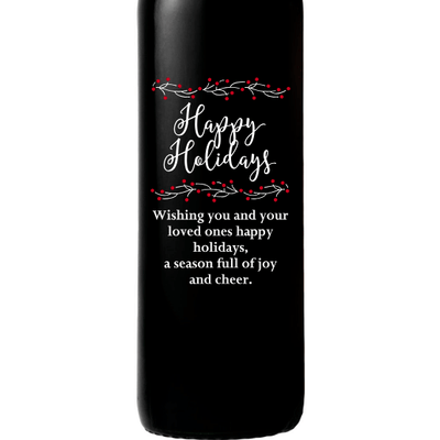 Happy Holidays with berries custom etched wine bottle by Etching Expressions