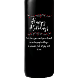 Happy Holidays with berries personalized wine bottle by Etching Expressions