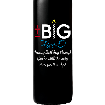 Personalized Red Wine Bottle 50th Birthday Gifts - The Big Five-O