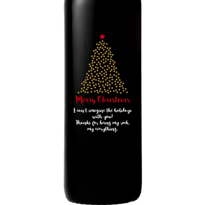 Merry Christmas starry Christmas Tree design on a custom red wine bottle Christmas gift by Etching Expressions