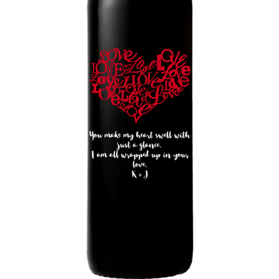 Personalized Red Wine Bottle Gift- Heart of Love customized wine gift