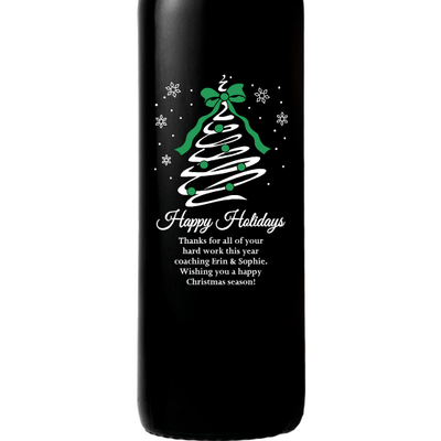 Happy Holidays Christmas Tree Swirl etched personalized wine bottle by Etching Expressions