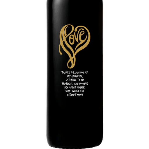 Personalized Red Wine Bottle Gift- Love Shape