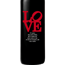 Personalized Red Wine Bottle Gift- Love Square