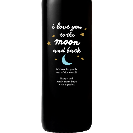 Personalized Red Wine Bottle Gift- Moon and Back Stars custom etched design