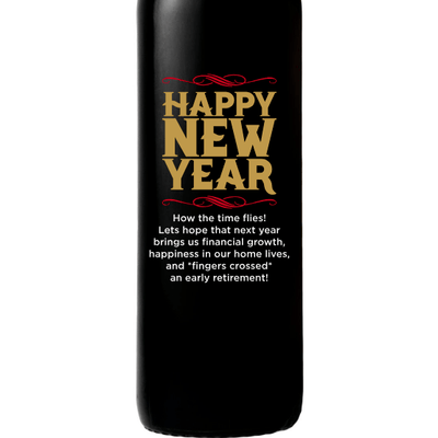 Happy New Year custom wine bottle by Etching Expressions