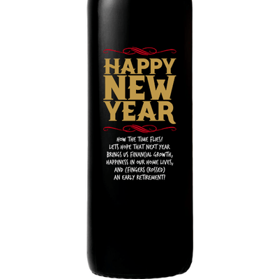 Happy New Year personalized wine bottle by Etching Expressions