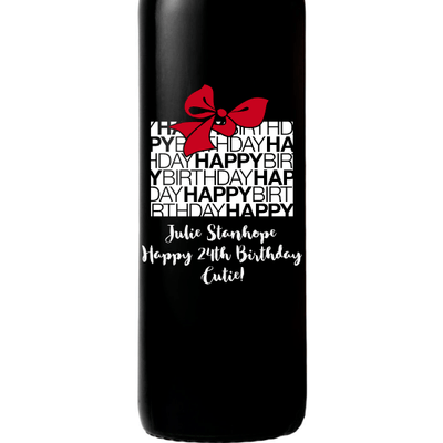 Birthday Gift Box Happy Birthday Custom Engraved Wine Bottle Birthday Gift by Etching Expressions