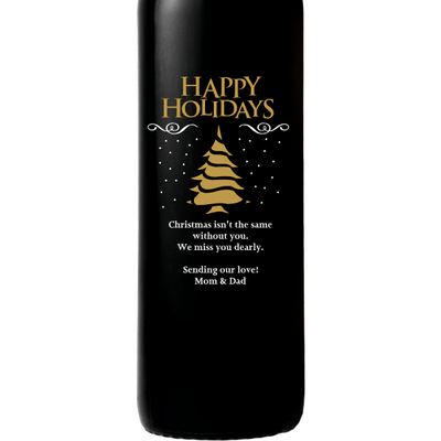 Happy Holidays Christmas Tree design on custom engraved wine bottle by Etching Expressions