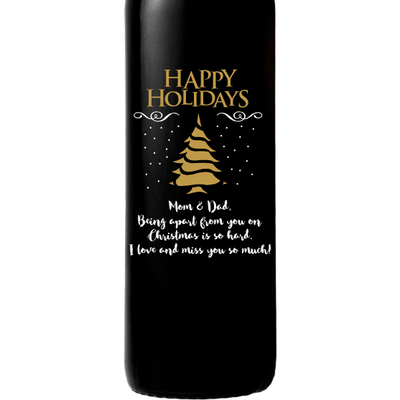 Happy Holidays Christmas Tree design on personalized etched wine bottle by Etching Expressions