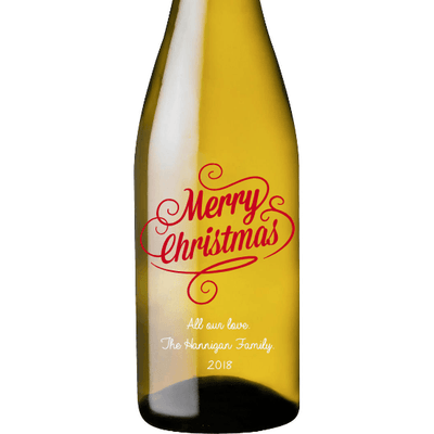 Merry Christmas personalized white wine bottle etched by Etching Expressions