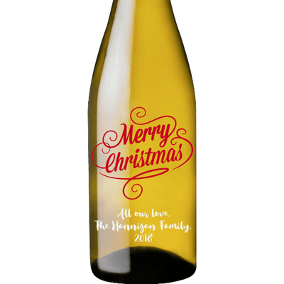 Merry Christmas custom etched white wine bottle by Etching Expressions