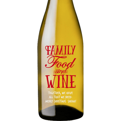Family Food and Wine custom engraved white wine bottle by Etching Expressions