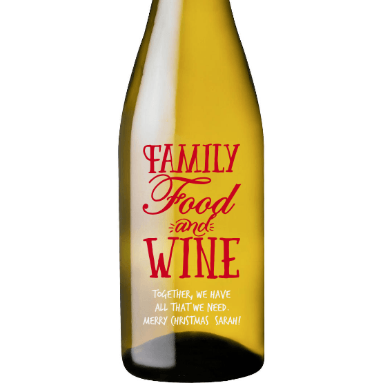 Family Food and Wine etched white wine bottle by Etching Expressions