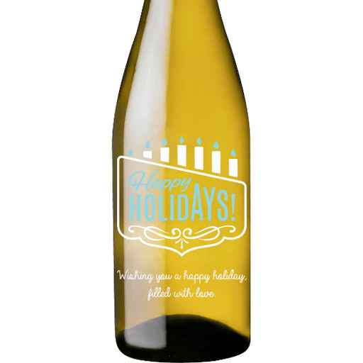 Happy Holidays Menorah personalized white wine bottle Hanukkah gift by Etching Expressions