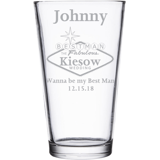 Best Man fabulous design pint glass custom wedding party favor by Etching Expressions
