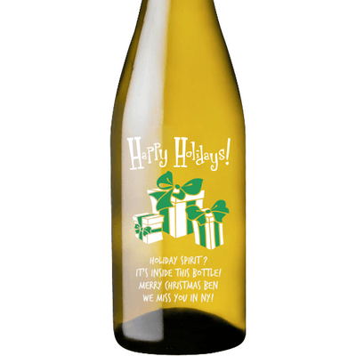 Happy Holidays with presents custom white wine bottle by Etching Expressions