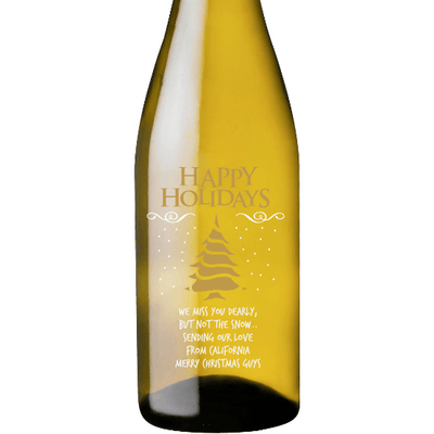 Happy Holidays Christmas Tree design on custom engraved white wine bottle by Etching Expressions