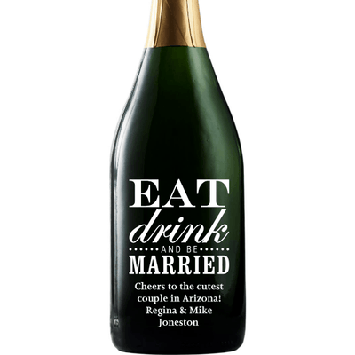 Eat Drink and Be Married custom etched champagne bottle wedding gift by Etching Expressions