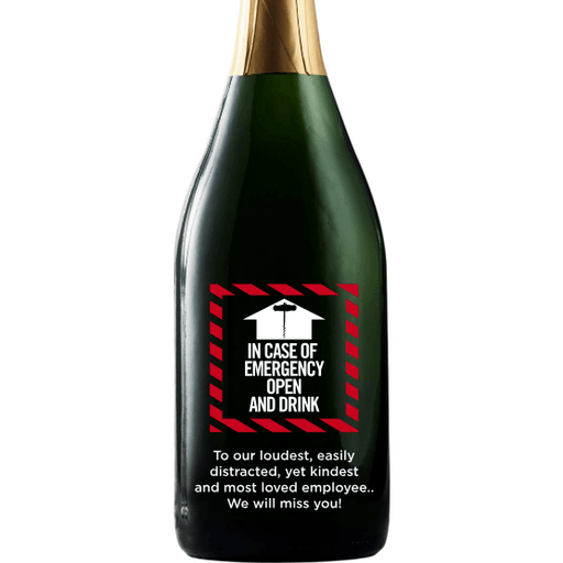 In Case of Emergency Open and Drink custom champagne bottle by Etching Expressions
