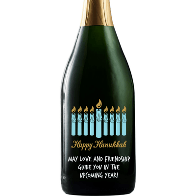 Hanukkah Menorah custom champagne bottle by Etching Expressions