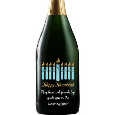 Hanukkah Menorah personalized champagne bottle by Etching Expressions
