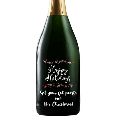 Happy Holidays with berries personalized champagne bottle by Etching Expressions