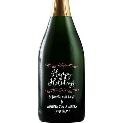 Happy Holidays with berry branches custom champagne gift by Etching Expressions