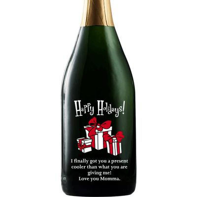 Happy Holidays with presents custom champagne bottle by Etching Expressions