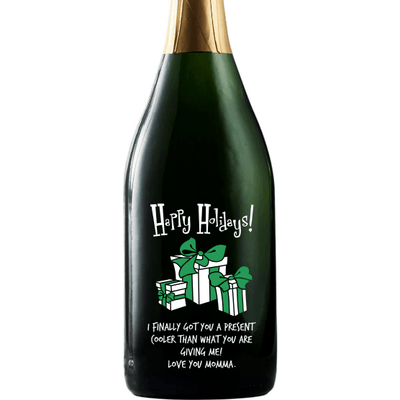 Happy Holidays with presents personalized champagne bottle by Etching Expressions