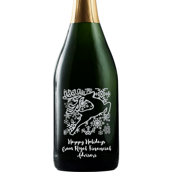 Champagne - Happy Holidays Reindeer