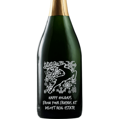 Holiday Reindeer design on a custom champagne bottle by Etching Expressions