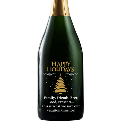 Happy Holidays Christmas Tree design on custom engraved champagne bottle by Etching Expressions