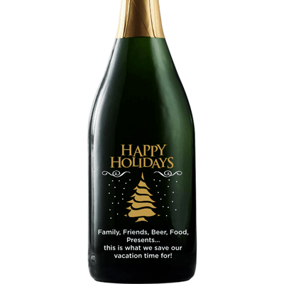 Happy Holidays Christmas Tree design on custom etched champagne bottle by Etching Expressions