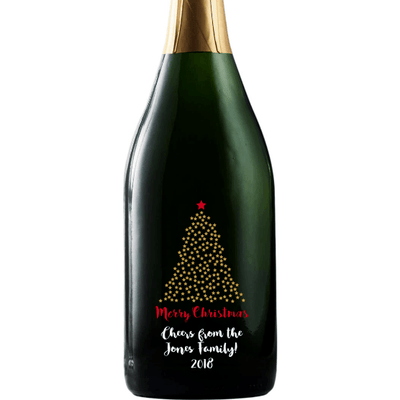 Merry Christmas starry Christmas Tree design on a custom champagne Christmas gift by Etching Expressions