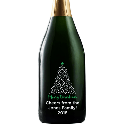 Merry Christmas starry Christmas Tree design on a custom etched champagne gift by Etching Expressions