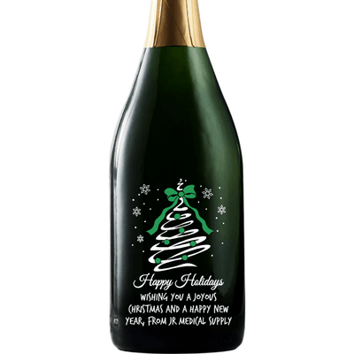 Happy Holidays Christmas Tree Swirl engraved custom champagne bottle by Etching Expressions