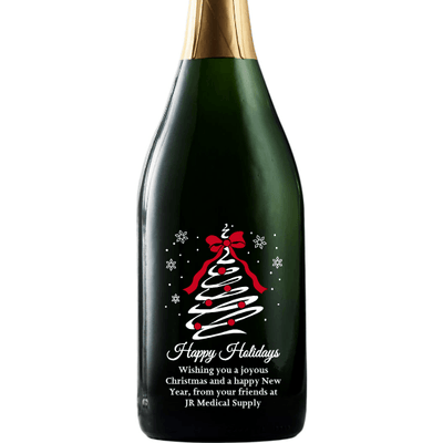 Happy Holidays Christmas Tree Swirl etched personalized Champagne bottle by Etching Expressions