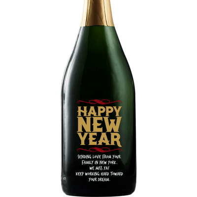 Happy New Year custom champagne bottle by Etching Expressions